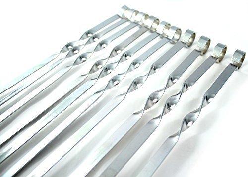 Set di 10 spiedi in acciaio inox, per barbecue, griglia e kebab Lunghezza 50 cm; larghezza 1 cm; spessore 1,5 mm. Per tutte le esigenze in fatto di barbecue.
