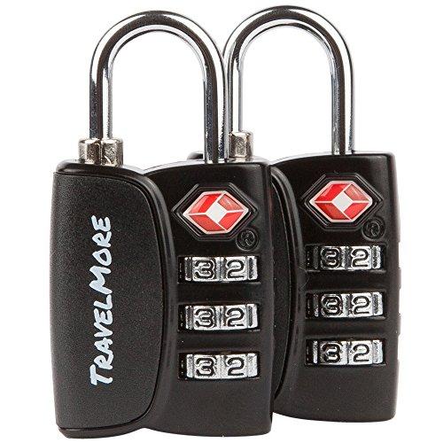 Candado para Equipaje TSA – Candado para Viaje de combinación de cable con alerta de búsqueda para Maleta y Mochila - 2 Paquetes de candado (Negro)