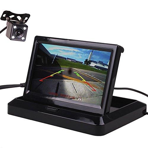 hitcar Auto klein Mini Farbe Digital Flip Down Faltbare Rear View Reverse Parking Kits Combo HD TFT-LCD Monitor Backup Kamera Dash Kit Combo