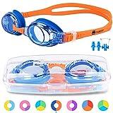 ZABERT Schwimmbrille für Kinder, K2 Schwimmbrillen Kinderschwimmbrille Chlorbrille für Jugendliche Kinder Kind Junior Jungen Mädchen 2 3 4 5 6 7 8 9 10 11 12 Jahre Blau Coral Orange