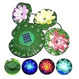 Solar 3 LEDs Lotus Blume Licht, DINOWIN Solar Power Energy Schwimmende LED Lotus Licht Blume Lampe Für Garten Teich Brunnen Pool Nachtlichter