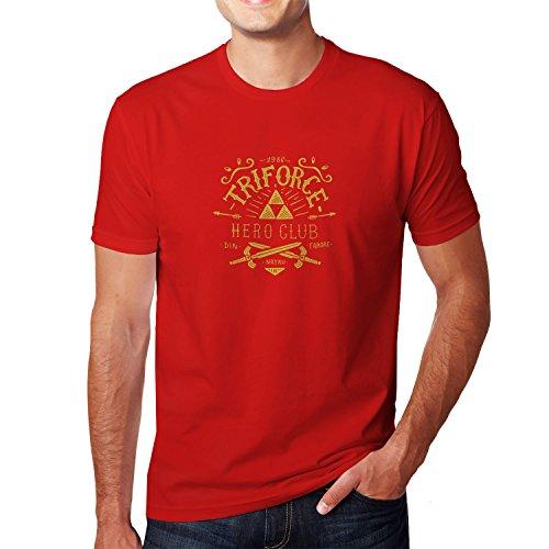 Planet Nerd - Triforce Hero Club - Herren T-Shirt, Größe M, rot (Wii Fit U Kostüm)