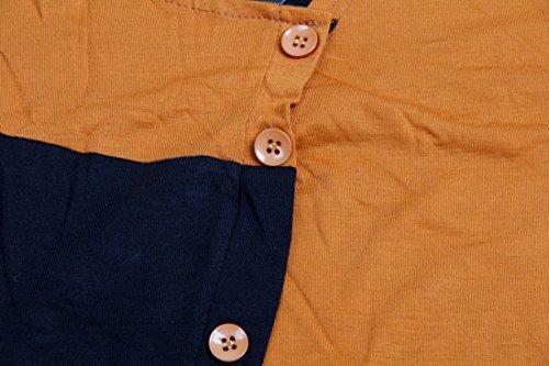 QIYUN.Z Männer Arbeiten Unregelmäßige Patchworkknopf-Kurzschlusshülse T-Shirts Um Braun