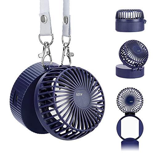 nstellbare Geschwindigkeiten Handheld Halskette Lüfter, USB wiederaufladbarem Akku 180° drehbare Einstellung mit Spiegel für Innen und Reisen Außenbereich ()