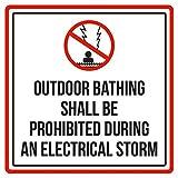Maureen52Dorothy Outdoor Baden Verboten während Einem elektrischen Sturm Pool Spa Sicherheit Warnung Schild Sticker Vinyl Quadratischen zudem, Label Aufkleber Sqaure 12x 12
