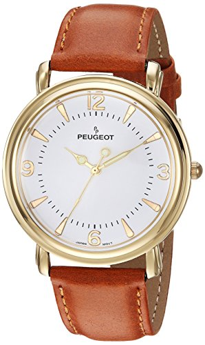 Peugeot 14 K placcato oro Slim Dome custodia vintage in pelle marrone Band Dress orologio 2060 g