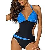 GWELL Damen Badeanzug Monokini Neckholder Badeanzug dunkelblau hellblau 2XL