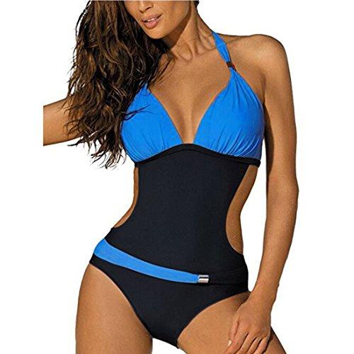 GWELL Damen Badeanzug Monokini Neckholder Badeanzug dunkelblau hellblau L (Tankini Neckholder Gepolsterter Badeanzug)