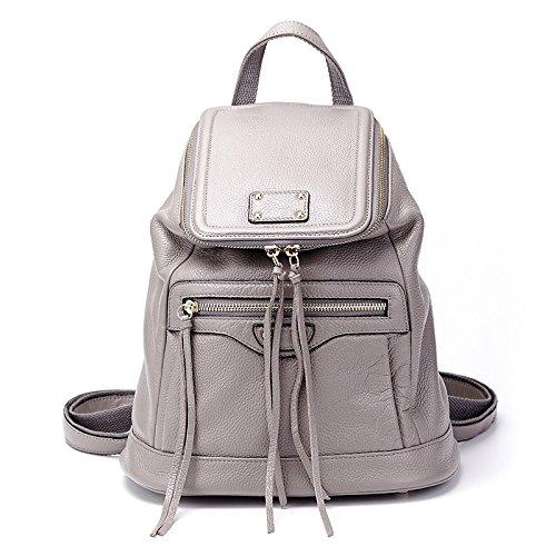 Mefly Onorevoli Vera Pelle Borsa A Tracolla Per Donna Colore Puro Grande Capacità Benna Bag Black Elephant grey