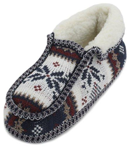 Slumberzzz, pantofole da donna in pile peruviano, cucite a maglia Blue