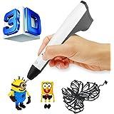 ACTOPP 3D Pluma Inteligente 3D Pen 3D Lapiz 3D Bolígrafo 4ª Generación Pluma para Impresión 3D 3D Bolígrafo Impresora con 2 Filamentos Gratuitos para Dibujos 3D Creación 3D Regalo Niños (Blanco+Gris, 2017 Novedad)