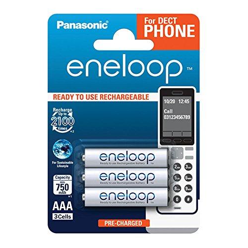 Panasonic eneloop, Ready-to-Use Ni-MH Akku, AAA Micro, 3er Pack, min. 750 mAh, 2100 Ladezyklen, geringe Selbstentladung, für Schnurlostelefone (DECT), wiederaufladbare Akku Batterie, Akkubatterie
