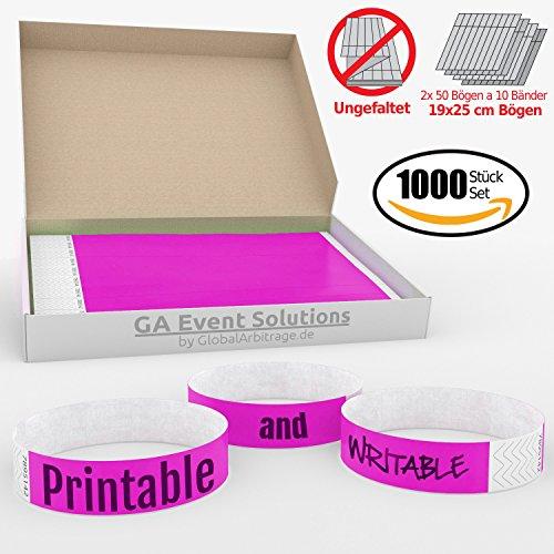 1000 Eintrittsbänder aus Tyvek zum selbst gestalten und bedrucken in Pink von GA Event Solutions - Party Einlassbänder, Festival Armbänder für dein Event (Tyvek-armbänder 1000)