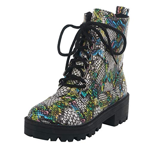 Kinlene Stivali da Moto retrò Punk Cool da Donna Multicolor con Serpente Inv