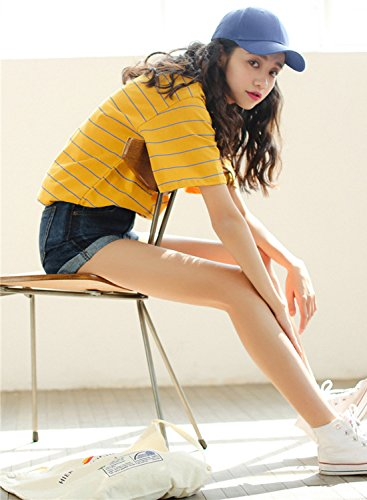 Azbro Women's Classic Short Sleeve Striped Pullover Tee yellow
