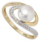 JOBO Damen-Ring 585 Gold Gelbgold 1 Süßwasser-Perle 2 Diamant-Brillanten