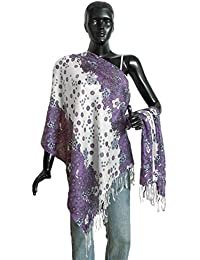 DollsofIndia White With Purple Light Woolen Stole With Floral Print -25 X 68 In. (NC29) - White, Purple