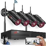 Kit Videovigilancia IP WiFi Inalámbrica 1080P 4CH NVR Sistema de Vigilancia WiFi 4 Cámaras de Seguridad con 1TB HDD Sistema CCTV, Visión Nocturna, Detección de Movimiento, Acceso Remoto, SWINWAY