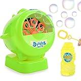 Macchina per Bolle, Sparabolle Portatile Sparabolle Bubble Machine Maker e 4 once Liquido per macchina delle bolle soluzione, per vasca da bagno, Natale, festa, Grigliate, Balli, matrimonio; 4 batterie AA non incluse (verde)