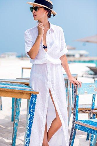 Strand-Abdeckung oben für Frauen-Bikini-Badebekleidungs-Kleid-langes Hemd Chiffon- Weiß Chiffon weiß A