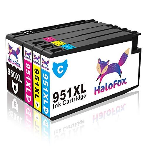 HaloFox Juego de 4 paquetes Alto rendimiento Reemplazo para HP 950XL 951XL Cartuchos de tinta Compatible para HP Officejet Pro 8600 Plus 8610 8620 8615 8625 8630 8640 8660 8100 276dw 251dw