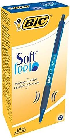 Bic Lot de 12 stylos à bille Soft Feel Clic Grip Largeur de trait 0,4 mm (Bleu)
