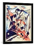 Gerahmtes Bild von Franz Marc Noah und die Füchse, Kunstdruck im hochwertigen handgefertigten Bilder-Rahmen, 50x70 cm, Schwarz matt