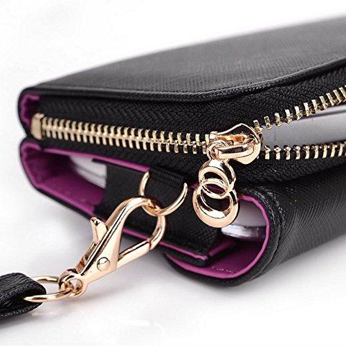 Kroo d'embrayage portefeuille avec dragonne et sangle bandoulière pour Lava Iris 352Flair/325style Smartphone Multicolore - Rouge/vert Multicolore - Black and Violet