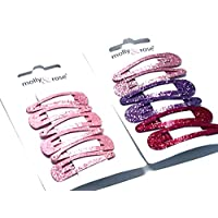 La Peach Fashions Children Gorgeous Glitter Snap Clips Set Of Two Hair Slides Beautiful Glitter Pink Tonal Colours 4 cm And 5 cm (Assorted)
