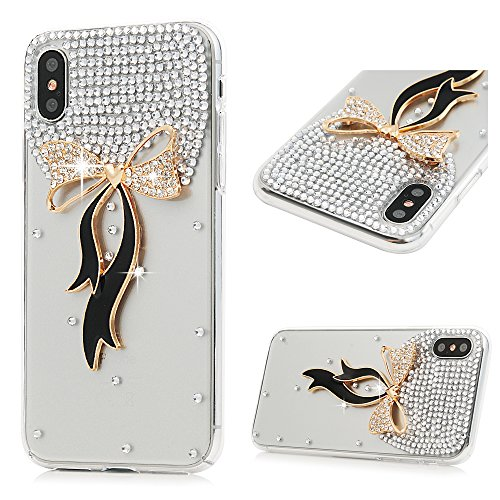 iPhone X Fall, Mavis 's Diary 3D Handmade Bling Colorful Diamonds mit glänzend Full Sparkle Strass Gems Kristall klar Full Body Schutz hart PC Kunststoff Cover für iPhone X Edition, Bow Tie Bow Tie Taste