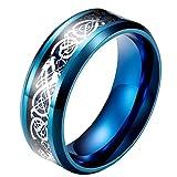 PAURO Herren Edelstahl 8mm Domäne Keltische Drachen Muster Ringe Carbon Einlege EheRingee Blau Silber Größe 68 (21.6)