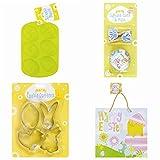Ostern Kochen und Backen Set–Inklusive Ostern Silikon Ei Formen | Ostern Cookie Cutter Set | Ostern Cupcake Fällen und Picker-Set | Ostern Geschenk Tüte–(grün Design)