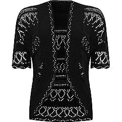 WearAll - Grande taille crochet tricoté bolero gilet top à manches courts - Noir - 52-54