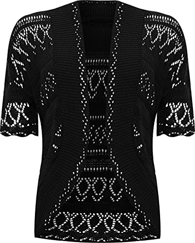 WearAll Plus Size Womens Crochet Knitted Short Sleeve Ladies Shrug Cardigan Top - 20-26
