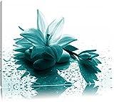 Düstere Lilie mit Zen Steinen Format: 120x80 auf Leinwand, XXL riesige Bilder fertig gerahmt mit Keilrahmen, Kunstdruck auf Wandbild mit Rahmen, günstiger als Gemälde oder Ölbild, kein Poster oder Plakat