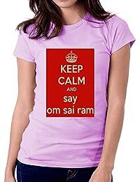 LetsFlaunt Keep Calm Om Sai Ram T-shirt Purple Girls Dry-Fit Nw