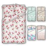 4 Trendy Living Bettwäsche aus Baumwolle, Satin, 135x200 cm, 80x80 cm, Reißverschluss, Öko-Tex Standard 100, Magnolie, Blume, Blüte, rosa, beige