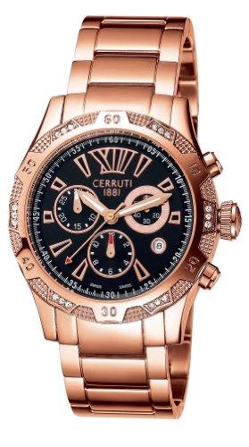 Cerruti CT100881X07 - Reloj cronógrafo de mujer de cuarzo con correa de acero inoxidable dorada (cronómetro) - sumergible a 50 metros