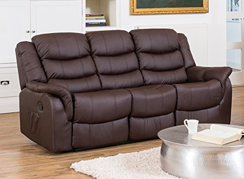 Sofa Collection Victoria Luxury Bonded Recliner 3-Seat Sofa Suite, Leather, Brown, 85 x 205 x 92 cm