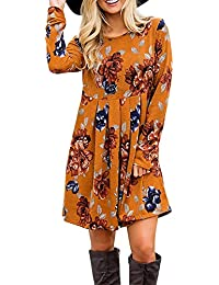 3c8802c14751 Donna Vestito Stampa Foreale Bohemien Hippie Chic Abito Stile Impero Corto  Moda Vestiti Manica Lunga Ragazza Vintage Swing Abiti Linea ad a Tunica…