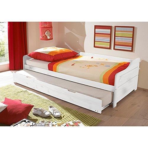 *Funktionsbett 90*200 cm Kiefer massiv weiß Gästebett Gästeliege Kinderbett Jugendliege Tandembett Massivholzbett Kinderzimmer Bett*