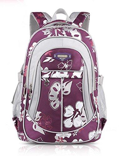 Mädchen Jungen Mädchen Rucksack Schulrucksack Ranzen Kinder Schulranzen Schultasche Rose rot Lila