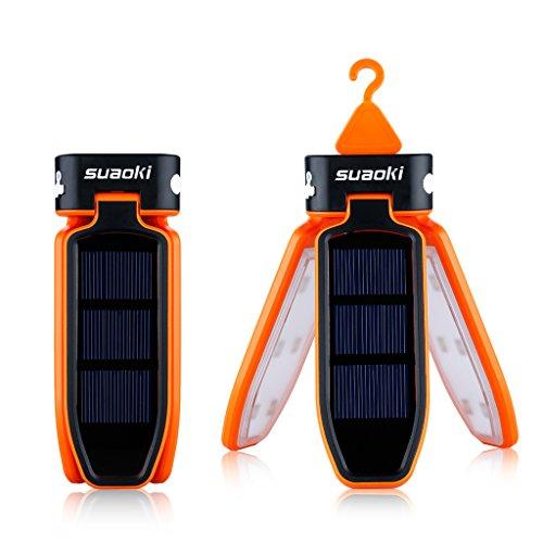 Suaoki Camping 18 LED Zelt Laterne Solar Lampe faltbare Solarleuchten Dreiblättrige Taschenlampe, USB & Solar Wiederaufladbare Laterne für Reisen, Camping, Wandern, Angeln, Außen Garten Innenhof, Notfall(Orange)