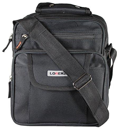 New Large Mens Ladies Handbag Bag Work Travel Cross Body Shoulder 4 Zips Bag (Black)