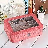 FBSBSD Caja De Joyería Portátil Caja De Almacenamiento De Joyas Caja De Exhibición De Joyas 27.5 * 19.7 * 7.8cm Rosa