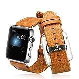 Jisoncase KLASSISCH Apple Watch 42 mm ECHTLEDER Armband mit hochwertigem Edelstahl Adapter Uhrenarmband in braun JS-AW4-06A20
