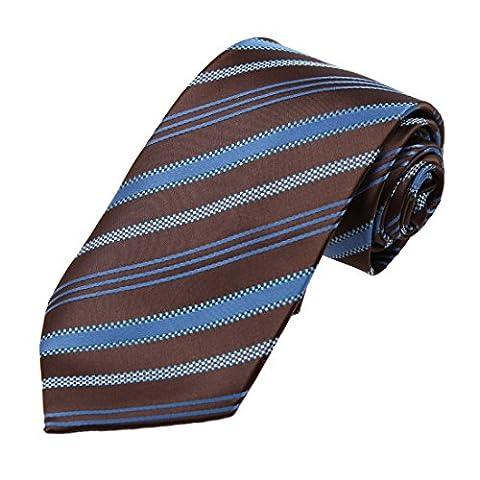 DAA7A14A Sattel-Brown-blaue Streifen Microfiber Personalisierte Krawatte Lieferanten-f¨¹r Mann-Krawatten durch Dan