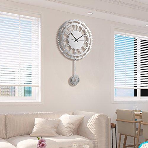 20 pouces argent métal engrenage swing horloge murale salon de la maison muet horloge (Color : Silver)