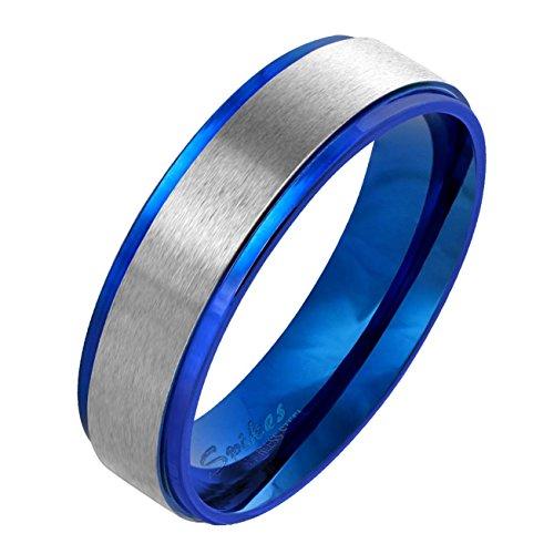 Paula & Fritz gebürsteter Edelstahlring Damen-ring Verlobungs-ring Freundschaftsring Herrenring Partnerring Stepped Edge blau 69 (22)