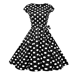 TEBAISE Damen Vintage 1950er Cap Sleeves Retro Dot Einfarbig Rockabilly Swing Kleider Frühling Sommerkleider Karneval Fasching Cocktailkleider Abendkleid Partykleid Knielang